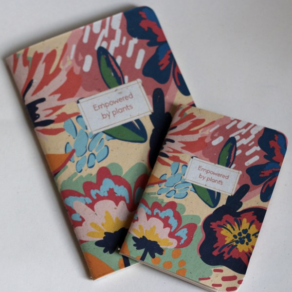 Recycled banana leaf notebooks flowery