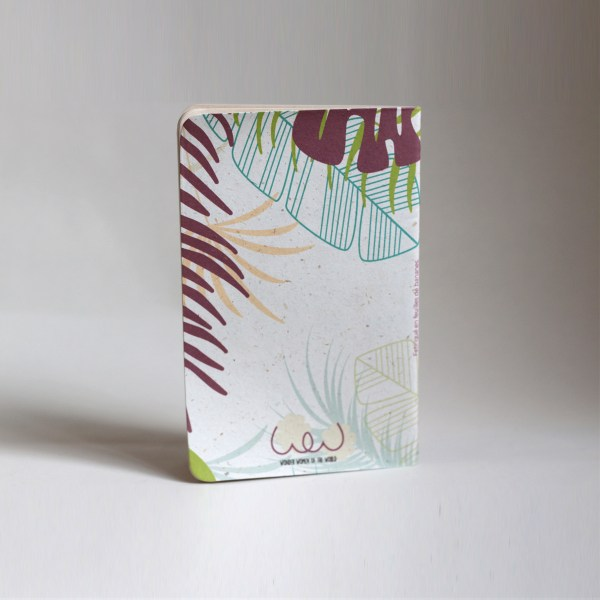 Recycled small banana leaf notebooks tropical back