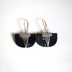 Daisy Piñatex Silver Cork Earrings