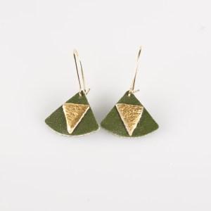 Boucles d'oreilles Piñatex Triangles Vert Cactus et Doré