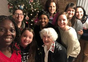 woman take photo after bible study