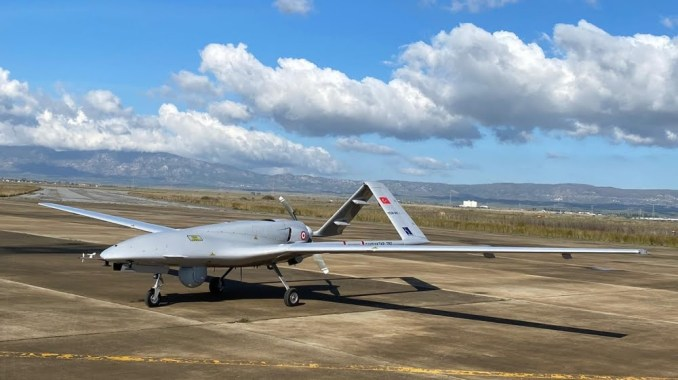 A Turkish-made Bayraktar TB2 drone is seen shortly after its landing at an airport in Gecitkala, known as Lefkoniko in Greek, in Cyprus, Monday, Dec. 16, 2019. Turkey has dispatched the surveillance a