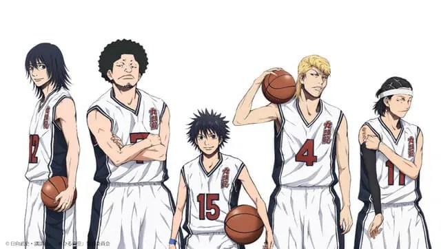 Ahiru no Sora Key Visual. Sora Kurumatani, Momoharu Hanazono, Chiaki Hanazono, Kenji Natsume, and Kaname Shigeyoshi stand in their basketball uniforms.