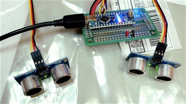 The ultrasonic sensors and the microprocessor board used by The SoundCatcher