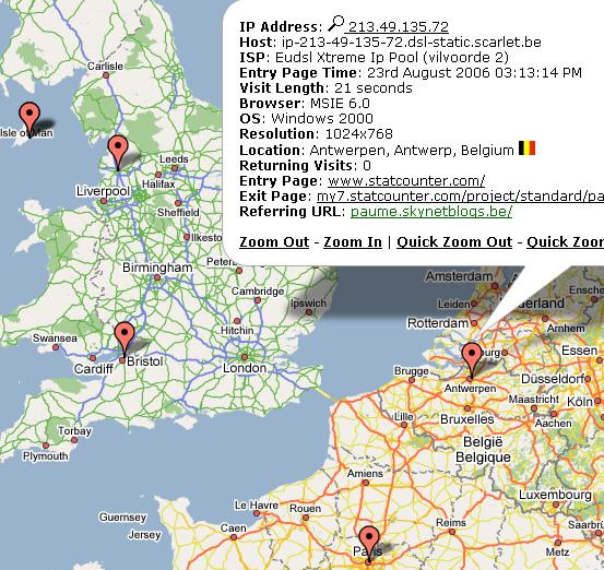 Recent Visitor Map Screenshot