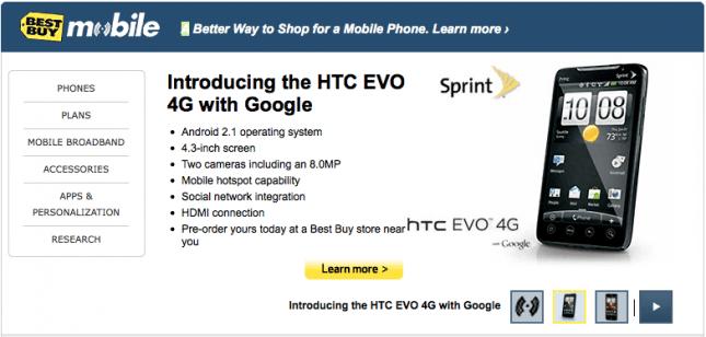 Best Buy Mobile EVO 4G