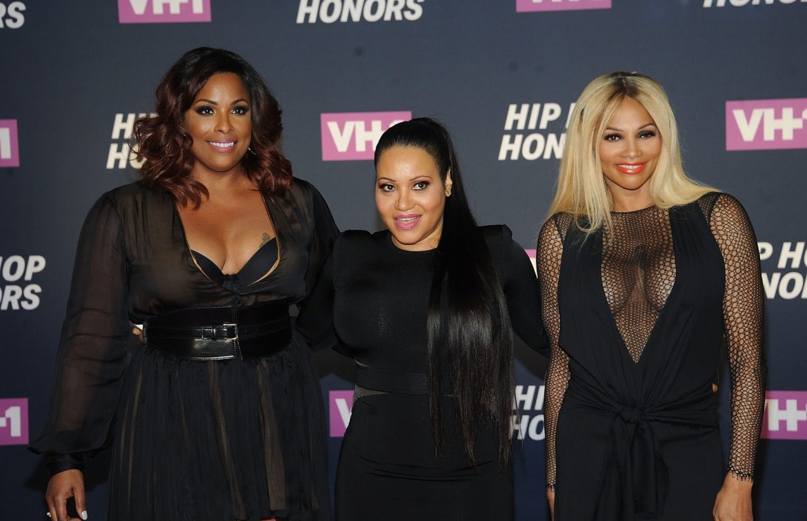 "DJ Spinderella (from left), Cheryl ""Salt"" James and Sandra ""Pepa"" Denton of Salt-N-Pepa arrive at VH1's Hip Hop Honors on July 11, 2016, in New York."