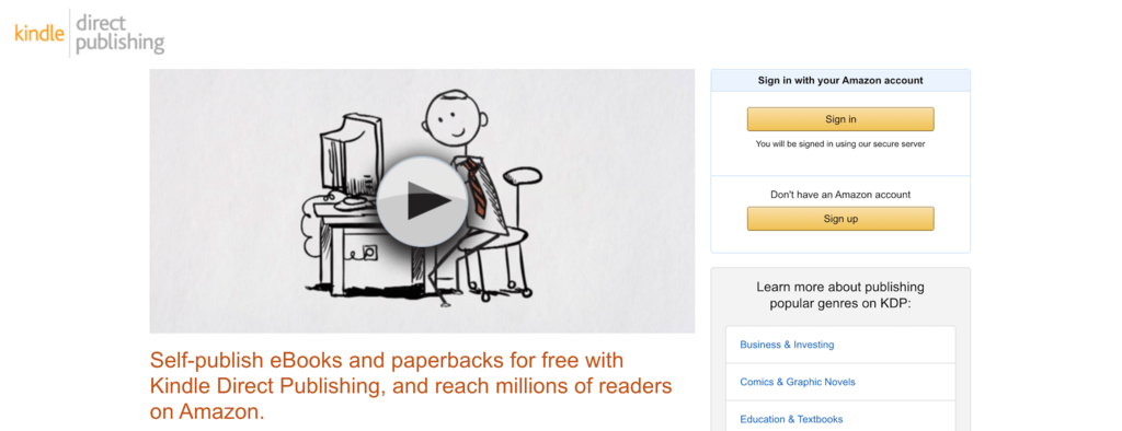Amazon Kindle Direct Publishing website.