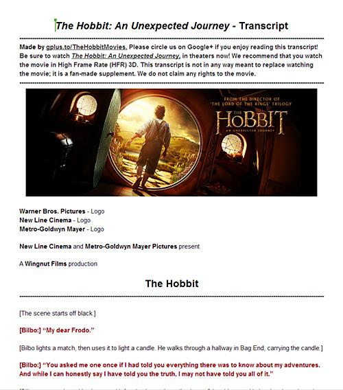 The Hobbit: An Unexpected Journey. A complete transcript.