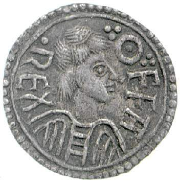Obverse of silver penny of King Offa of Mercia, by Eadhun at London, Fitzwilliam Museum CM.YG.418-R, Young Collection