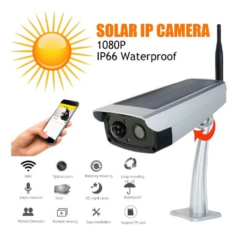 Solar-powered Ip Surveillance Camera – 1080p, 2.0mp, Tf Card, Wifi, Waterproof
