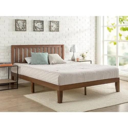 solid wood platform bed with headboard queen