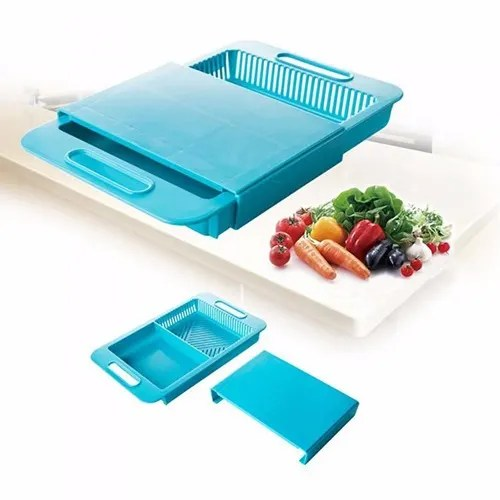 over the sink cutting board colander blue