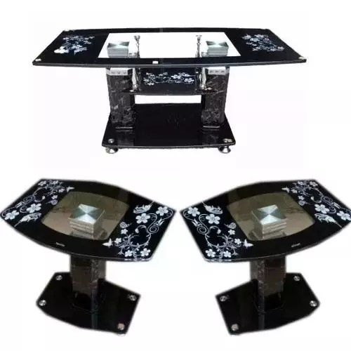 3 step tempered glass center table and 2 glass side stools