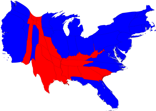2008 presidential election results population cartogram