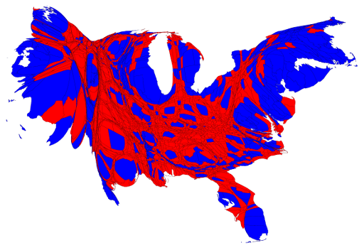 Fig. 2. 2012 election results, adjusted to weight by population.