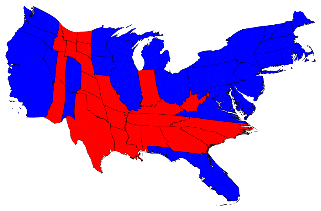 States as alloted Electorial College Votes