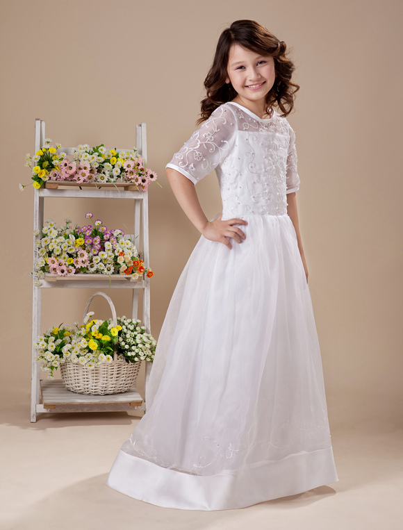 A Line White Embroidered Floor Length First Communion
