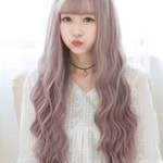 AF-S2-626421 Women's Long Wigs Curly Lavender Synthetic Corkscrew Curl Tousled Hair Wigs With Bangs