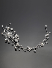 Silver Wedding Headpiece Alloy Rhinestone Pearls Bridal Hair Jewelry