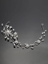 Silver Wedding Headpiece Alloy Rhinestone Pearls Bridal Hair Jewelry