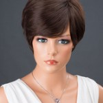 AF-S2-662817 Women's Hair Wigs Deep Brown Short Straight Synthetic Wigs With Side Bangs
