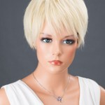 AF-S2-662821 Women's Hair Wigs Light Blonde Short Straight Synthetic Wigs With Bangs