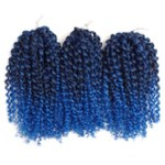 AF-S2-668443 Braid Hair Extensions Havana Mambo Crochet Water Wave Deep Blue Ombre Synthetic Braiding Hair