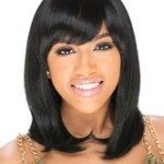 AF-S2-668361 Women's Black Wigs Straight Shoulder Length Synthetic Hair Wigs With Side Swept Bangs