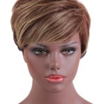 AF-S2-669393 Human Hair Wigs Short Straight Women's Side Parting Tan Hair Wigs