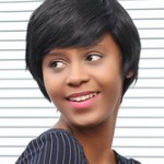 AF-S2-669805 Black Hair Wigs African American Side Bang Short Synthetic Wigs
