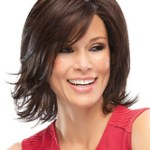 AF-S2-576505 Deep Brown Curls at Ends Chic Woman's Medium Wig