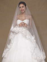 Ivory Wedding Veil One-Tier Applique Tulle Lace Bridal Veil(300cm Length)