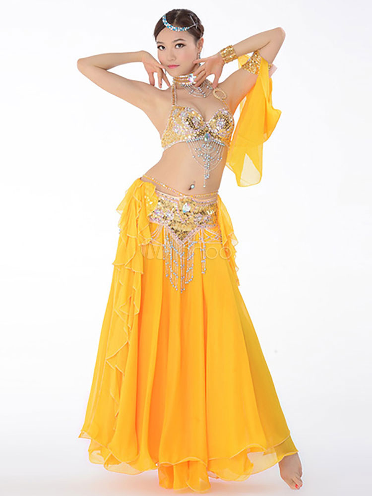 Belly Dance Costume Chiffon Ocean Blue Belly Dancing Long ...