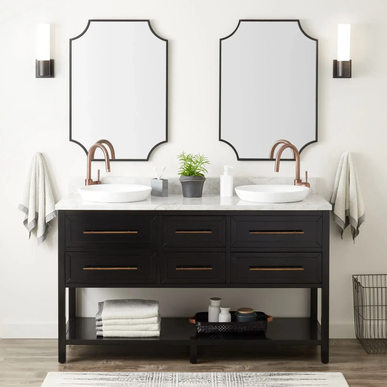 60 robertson double console vanity for semi recessed sinks black