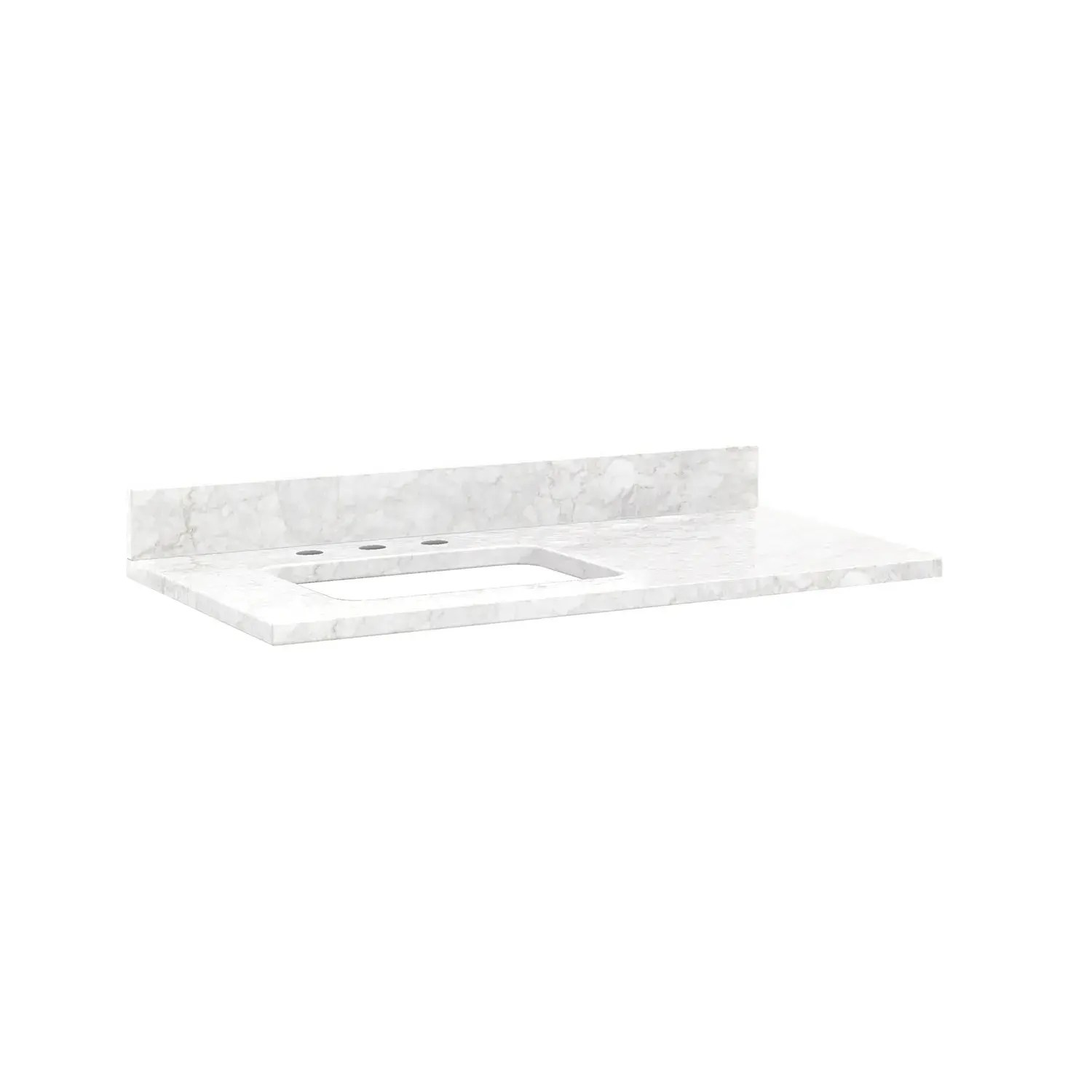 43 x 22 3cm marble vanity top for left offset rectangular undermount sink white carrara 8 faucet holes w sink