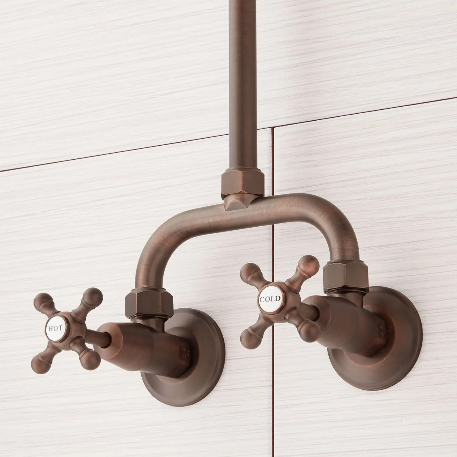 baudette exposed pipe wall mount shower with rainfall shower head