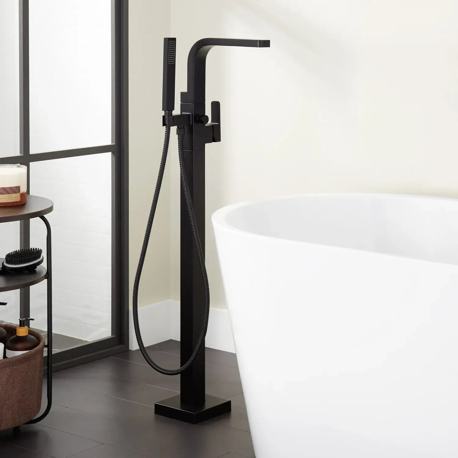 hibiscus freestanding tub faucet with hand shower
