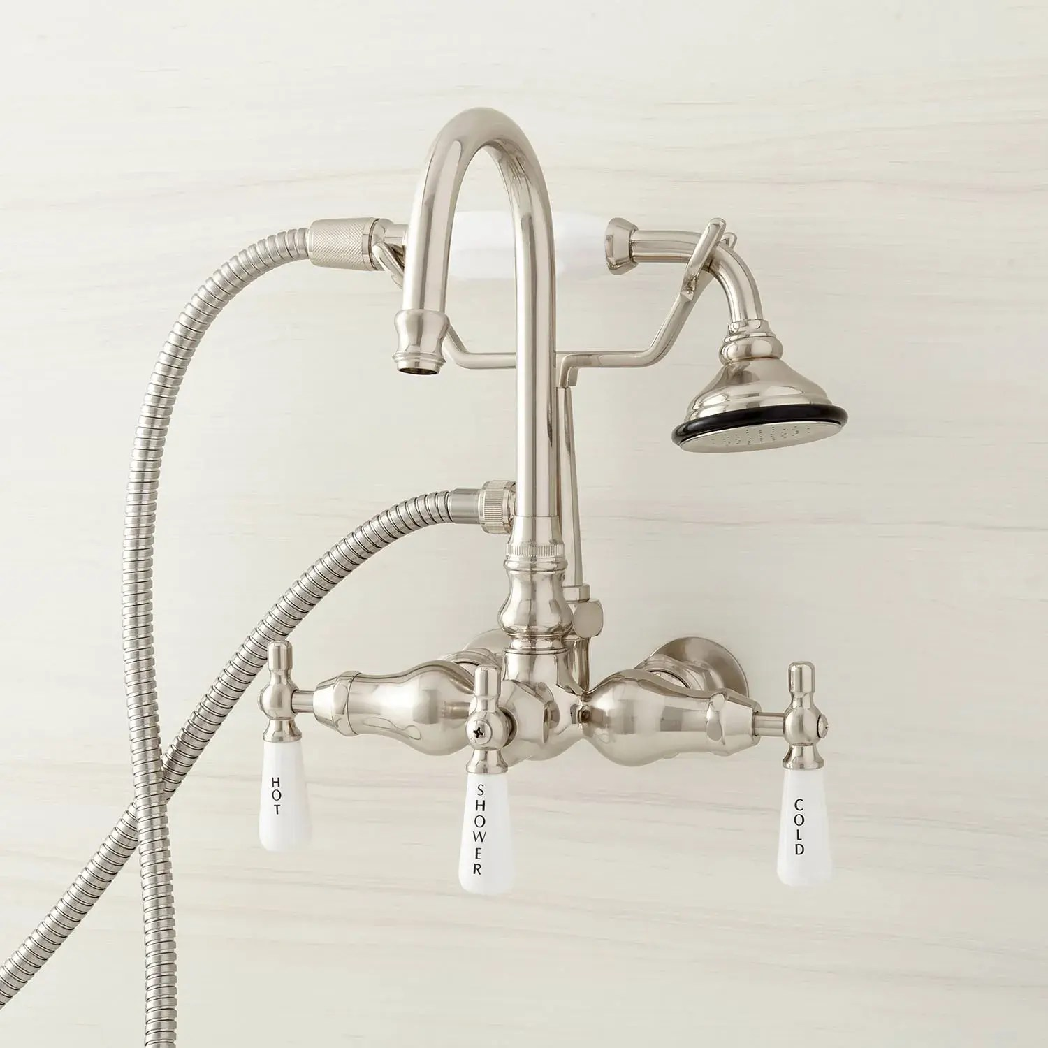 gooseneck tub faucet with hand shower and wall couplers