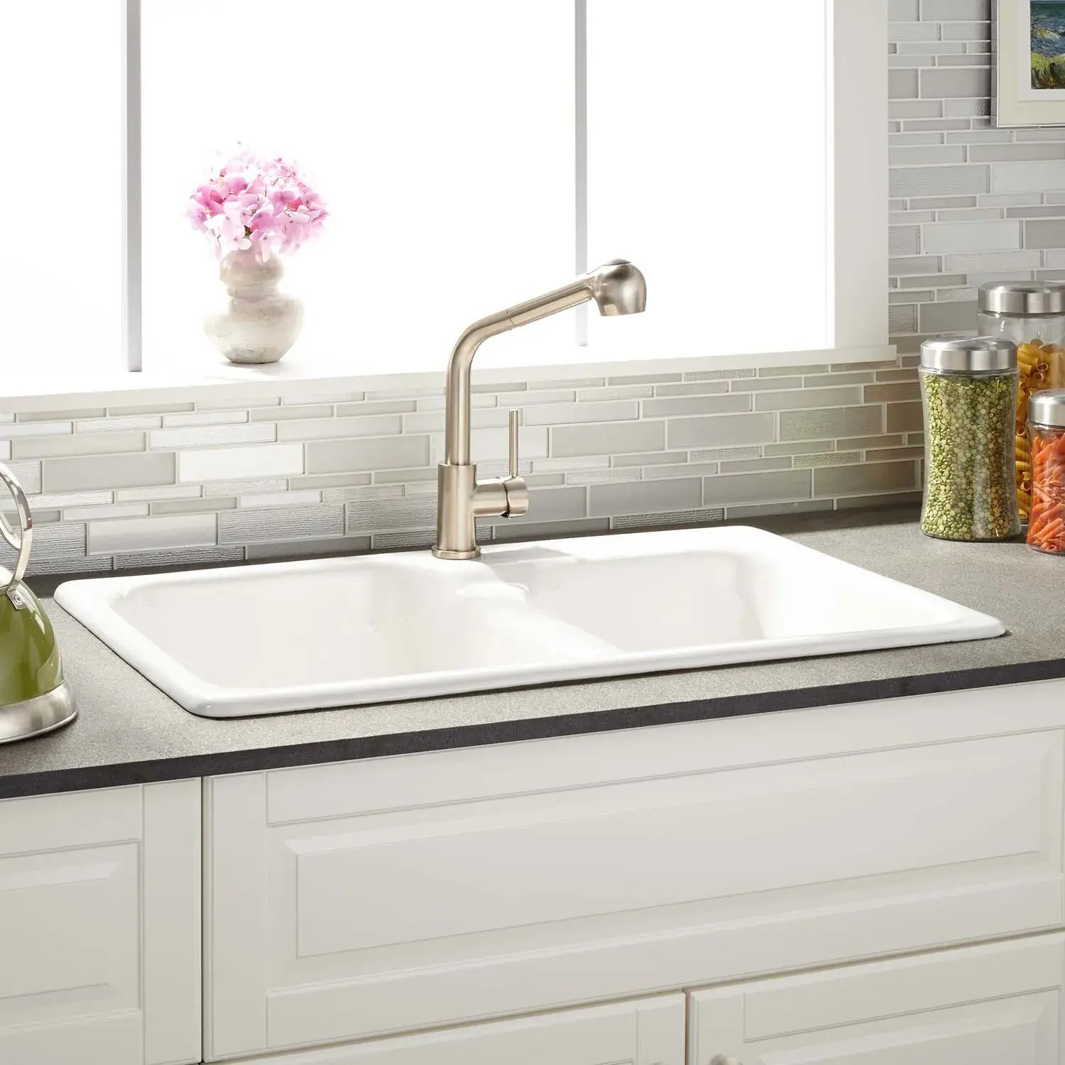 33 elgin 60 40 offset double bowl cast iron drop in kitchen sink white