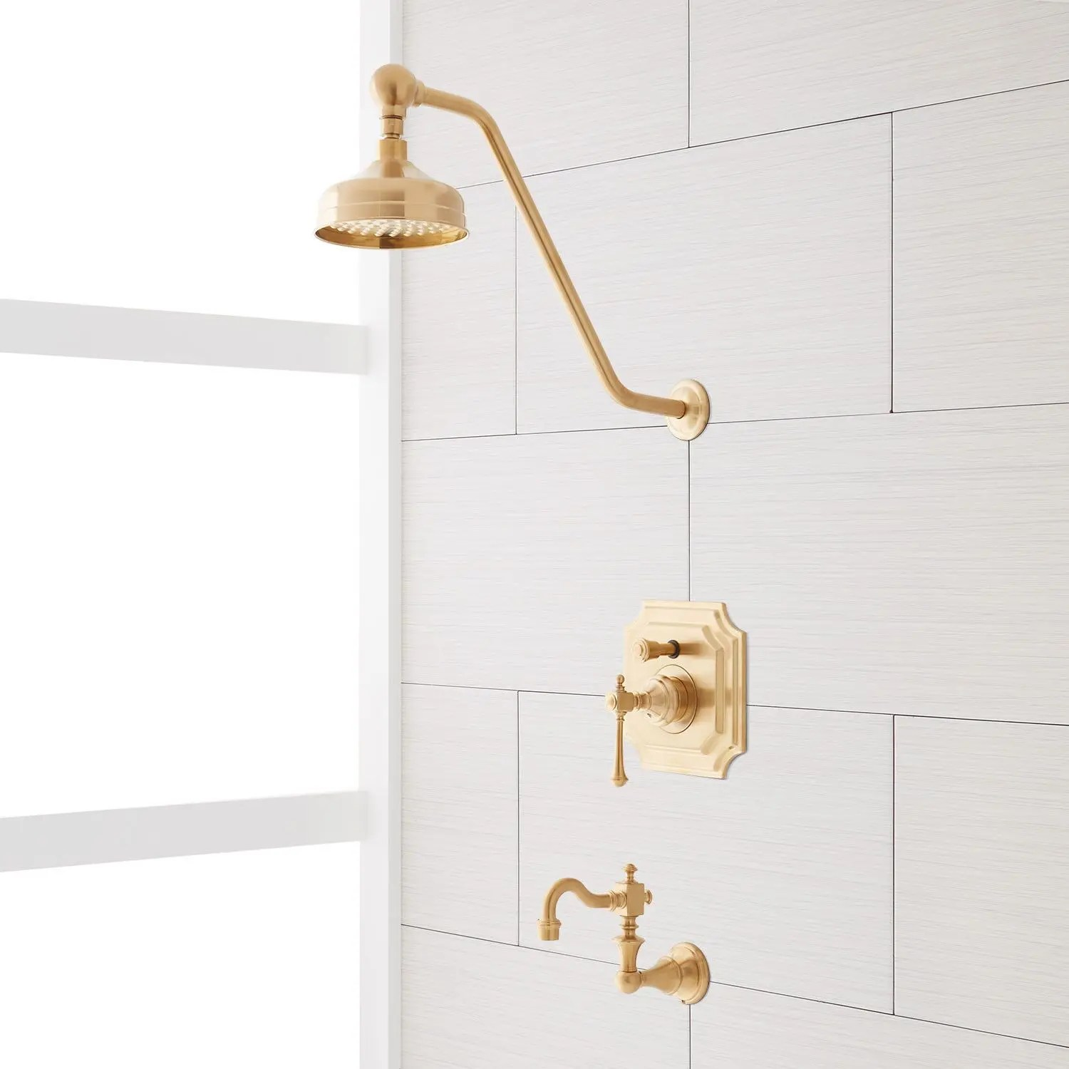 vintage pressure balance tub and shower faucet set with lever handle