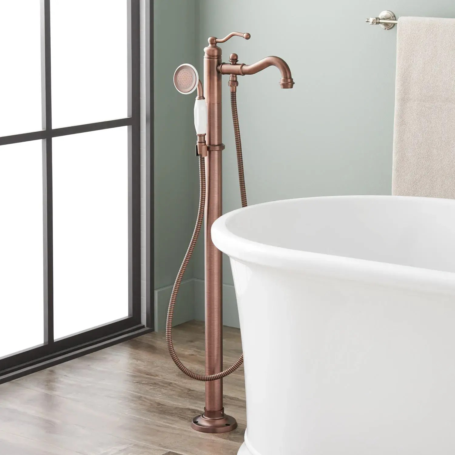leta freestanding tub faucet with hand shower