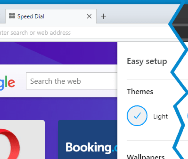 By Default Opera Is Set To Light Theme To Enable Dark Theme Click On Easy Setup In The Right Side Of The Toolbar And Turn On Dark Under Themes