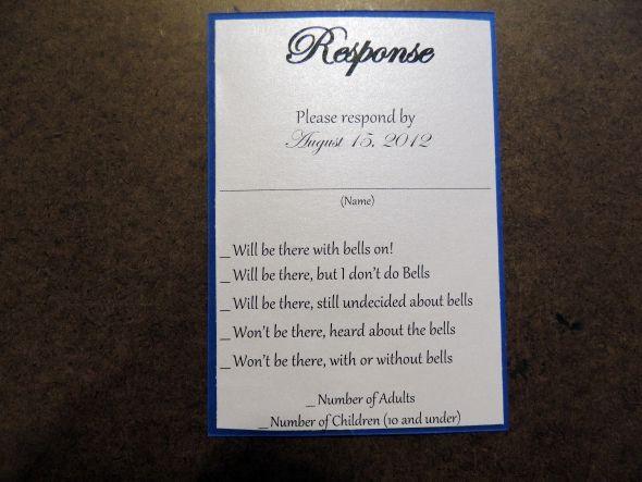 Funny Rsvp Wording Card