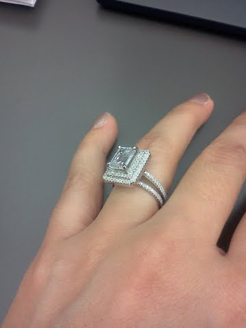 My 2ct Emerald Cut Surrounded By A Double Halo With