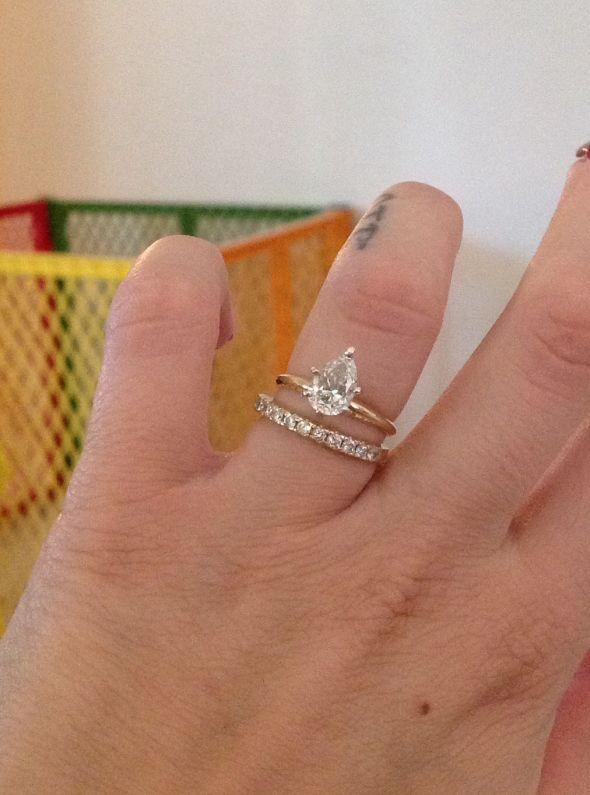 Plain Pear Solitaire Needing Advice For Wedding Band