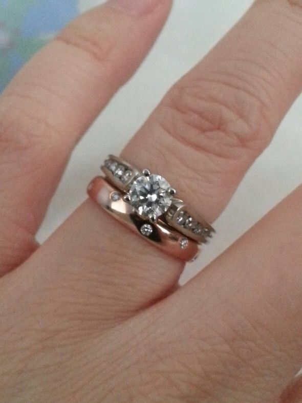 Crazy White Gold Engagement Ring With A Rose Gold Band