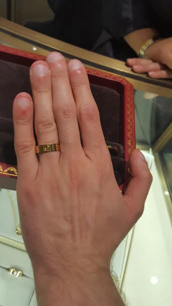 closed fi and i tried on the cartier love wedding bands what do you think pic heavy