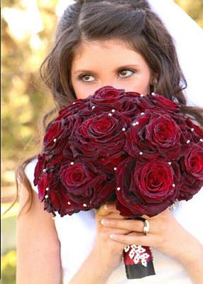 Dark Red Rose Bouquet with Pearls-Red, White, and Blue: a Fourth of July Wedding on Earlyivy.com
