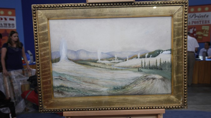 1883 Arthur Brown Yellowstone Watercolor Painting